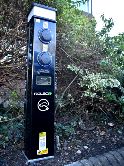 Outside electric vehicle charge point